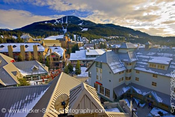 Stock photo of Whistler Mountain from Pan Pacific Hotel Whistler Village British Columbia Canada