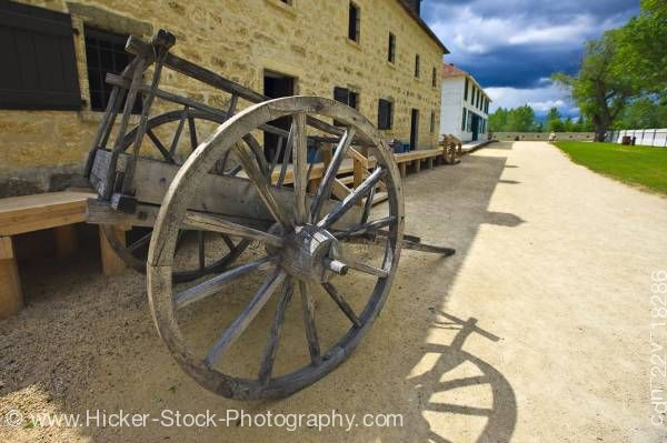 Stock photo of Wagon two wheels Furloft Saleshop at Lower Fort Garry National Historic Site Selkirk Manitoba Canada