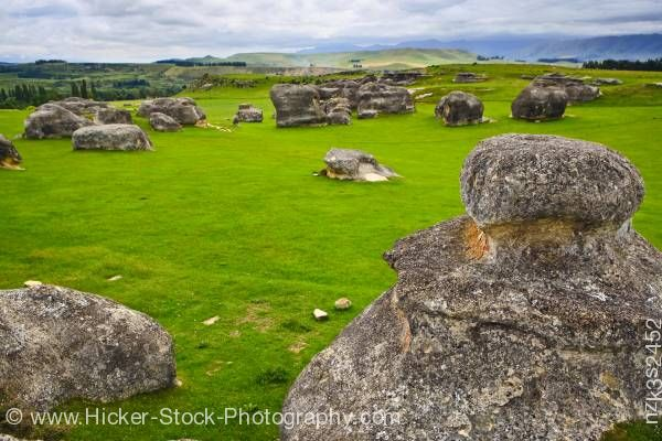 Stock photo of Landscape Elephant Rocks Waitaki Valley North Otago South Island New Zealand