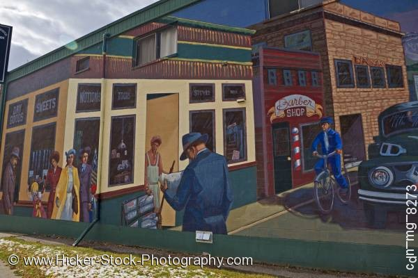 Stock photo of Wall mural building town Pincher Creek Alberta Canada