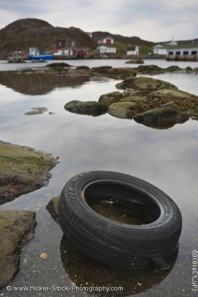 Stock photo of Water pollution car tire