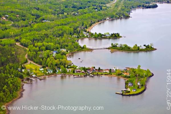 Stock photo of Aerial View Waterfront Properties Lake Superior Shores near Thunder Bay Ontario Canada