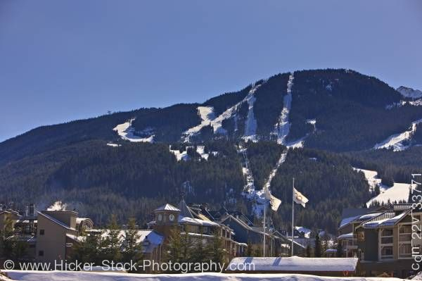 Stock photo of Whistler Mountain and Village from Summit Lodge Whistler Village British Columbia Canada