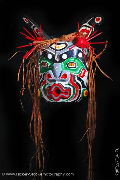 Stock photo of Yagis Mask by Willy Halkins First Nations Artist Northern Vancouver Island British Columbia Canada