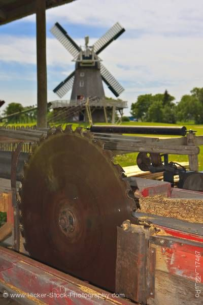 Stock photo of Windmill and Sawmill Shelter Mennonite Heritage Village Steinbach Manitoba Canada