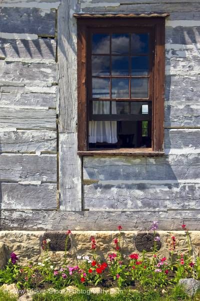 Stock photo of Farm Managers house window at Lower Fort Garry in Selkirk Manitoba Canada