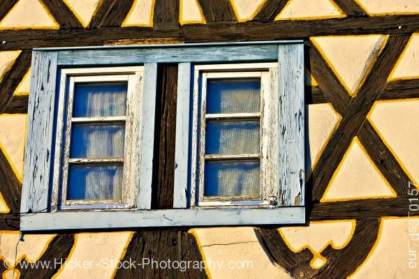Stock photo of Windows of an old building in the town of Michelstadt Hessen Germany Europe