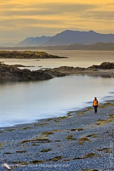 Stock photo of Woman on South Beach Sunset Pacific Rim National Park Vancouver Island British Columbia Canada
