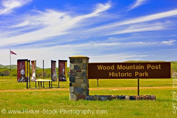Stock photo of Sign entrance to Wood Mountain Post Provincial Historic Park Saskatchewan Canada