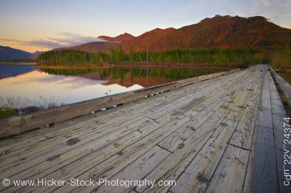 Stock photo of Wooden bridge Clayoquot Arm of Kennedy Lake Vancouver Island British Columbia Canada