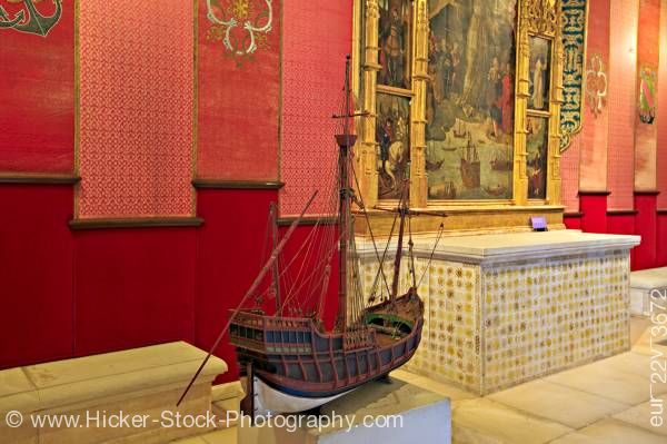 Stock photo of Ship model Audience Chamber of the Cuarto del Almirante Reales Alcazares UNESCO World Heritage