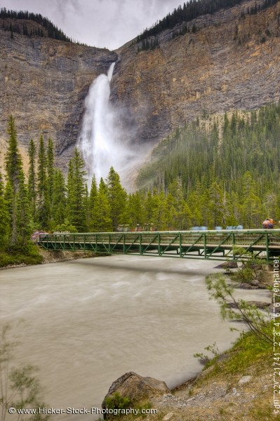 Stock photo of Bridge Takakkaw Falls waterfall Yoho River in Yoho National Park British Columbia Canada