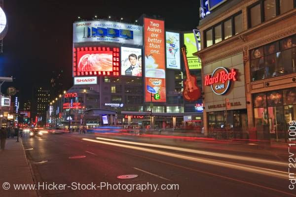 Stock photo of Yonge Street Nightlife Dundas Square Toronto Ontario Canada