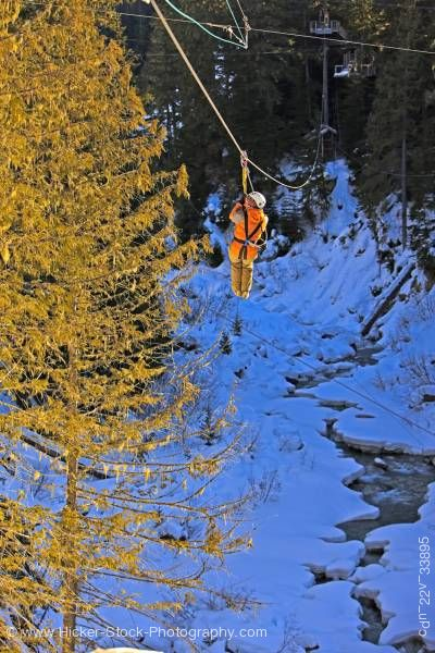 Stock photo of Ziplining Fitzsimmons Creek Whistler and Blackcomb Mountains Whistler British Columbia Canada